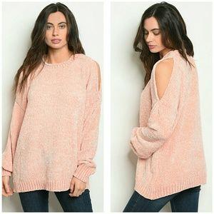 🆕 Blush Chenille cold shoulder sweater